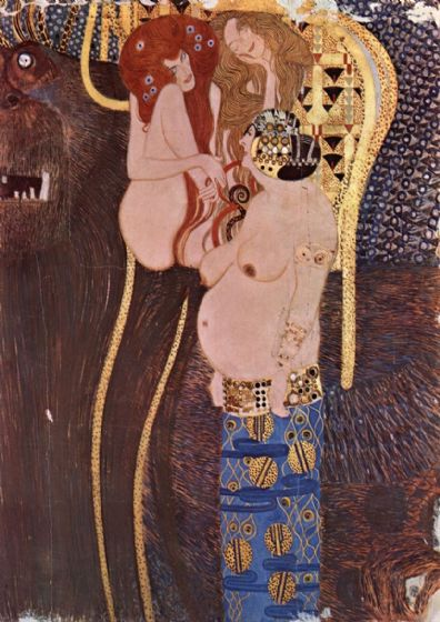 Klimt, Gustav: The Beethoven Frieze - The Longing for Happiness. Fine Art Print/Poster. Sizes: A4/A3/A2/A1 (00644)